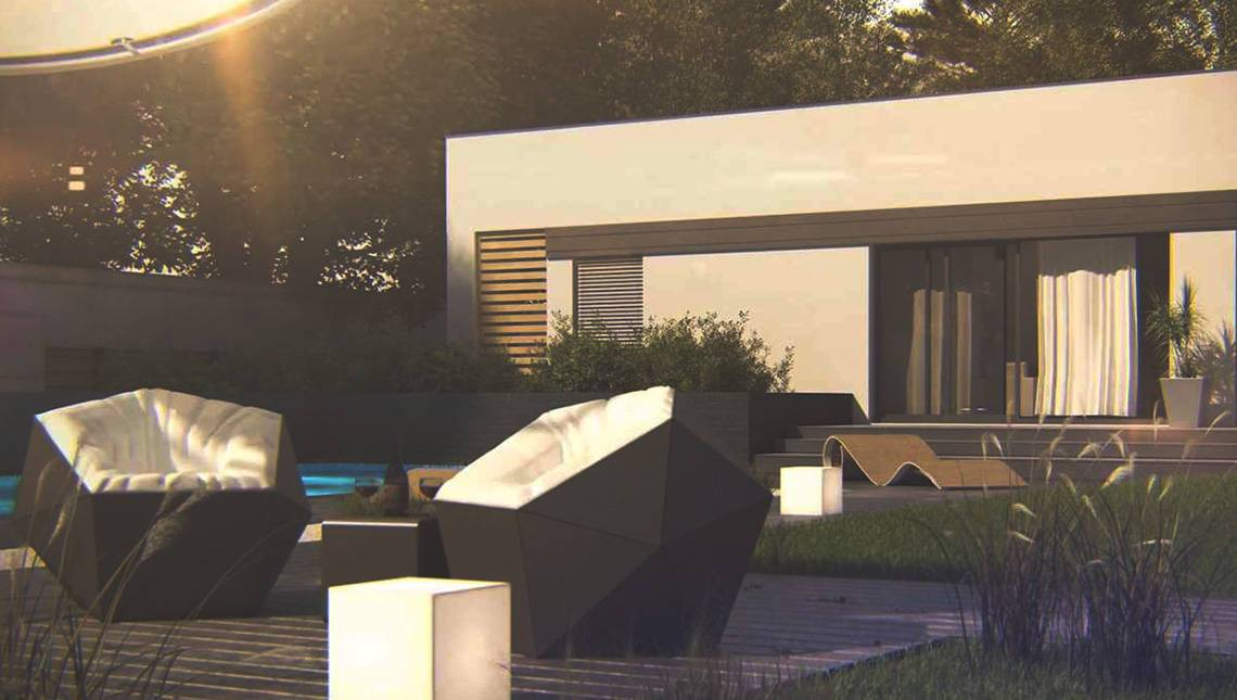 Проект одноэтажного дома хай-тек с бассейном и прозрачным гаражом