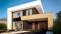 Проект современного двухэтажного дома хай-тек с встроенным гаражом