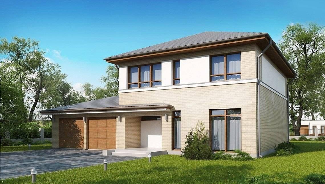 Проект классического двухэтажного этажного дома с гаражом на два автомобиля