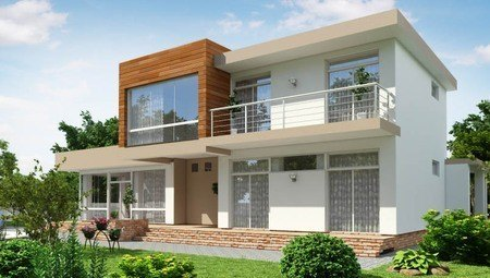 Современный загородный коттедж с большими террасами и тремя спальнями
