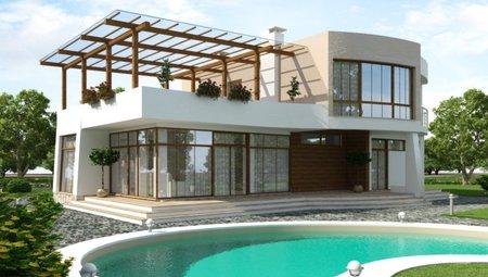 Коттедж в стиле хай-тек с тремя спальнями на втором этаже и огромной террасой