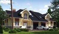 Большой загородный коттедж на две семьи с двумя гаражами
