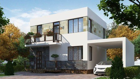 Миниатюрный двухэтажный коттедж с плоской крышей