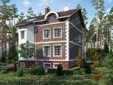 Стильный проект трёхэтажной кирпичной усадьбы с беседкой