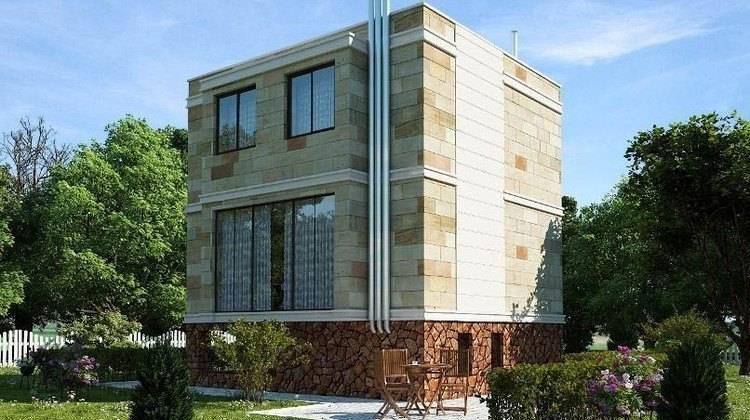 Проект маленького современного двухэтажного коттеджа с подвалом