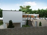 Проект двухэтажного дома Г-образной формы с внутренним двориком