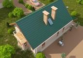 Проект небольшого коттеджа в классическом стиле с мансардой и гаражом