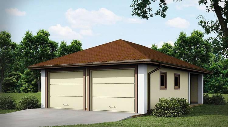 Проект сдвоенного гаража с четырёхскатной крышей