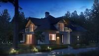 Проект загородного коттеджа с красивыми окнами и гаражом для двух машин