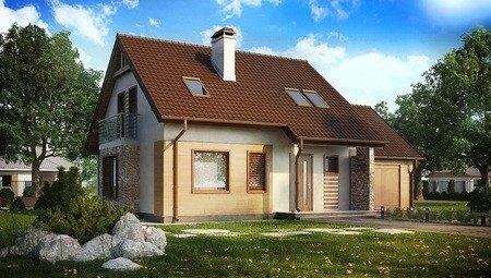 Проект аккуратного загородного 1 этажного дома с мансардой и гаражом для автомобиля