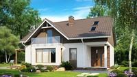 Каркасное решение проекта 4M041 одноэтажного дома с мансардой и балконом