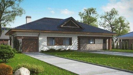 Проект классического практичного одноэтажного коттеджа с мансардой, кирпичным фасадом и гаражом