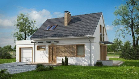 Проект загородного дома с мансардой по типу 4M190 с гаражом на одну машину