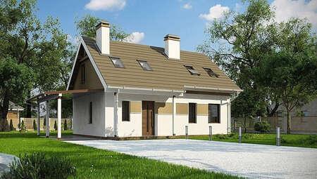 Проект маленького аккуратного загородного дома с мансардой