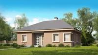 Проект одноэтажного коттеджа по типу 4M250 с кирпичным фасадом