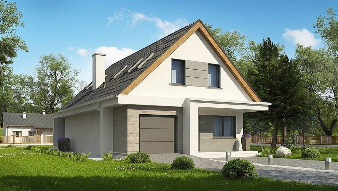 Современный проект небольшого дома с мансардой для узкого участка