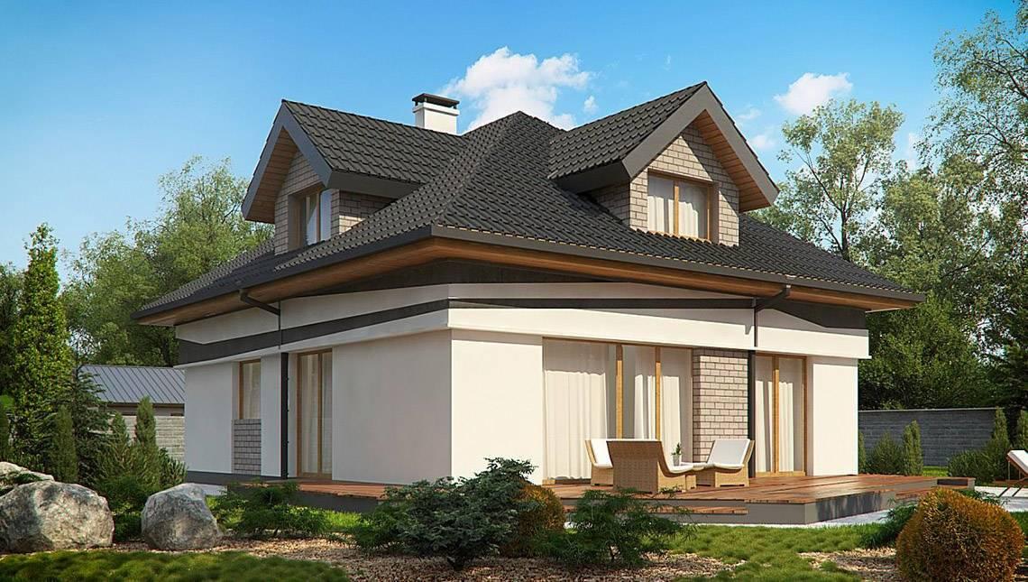 Комфортный дом с мансардой, выполненный в европейском стиле