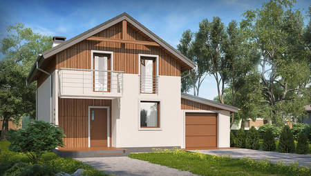 Двухэтажный дачный дом по типу 4M406 с встроенным гаражом для 1-го автомобиля