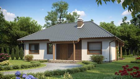Каркасный вариант проекта 4M474 - одноэтажного классического дома