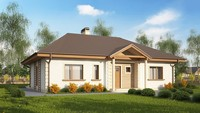 Проект одноэтажного дома с колоннами по типу 4M512 без пристроенного гаража