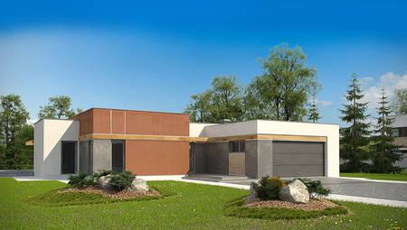 Проект 1-о этажного современного дома с гаражом