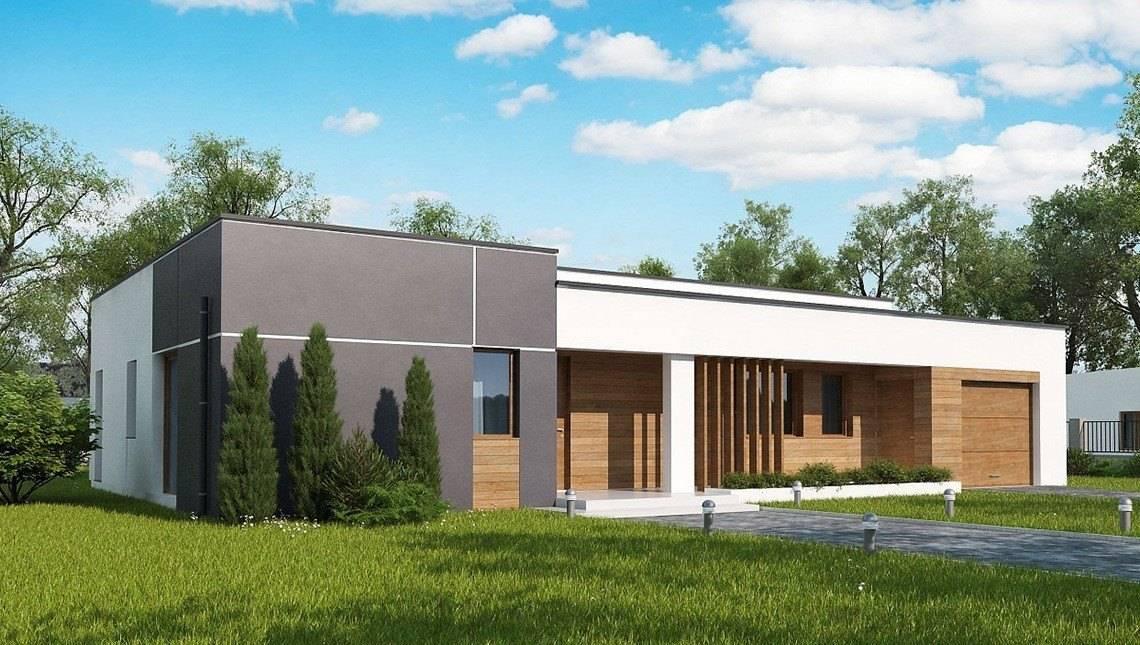 Одноэтажный современный дом по типу 4M590 с пристроенным гаражом