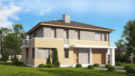 Вариант проекта коттеджа 4M636 с кирпичным фасадом