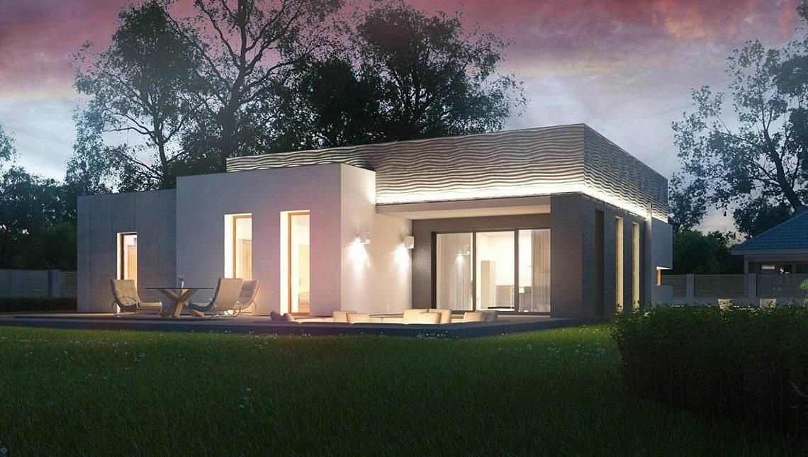 Стильный современный одноэтажный дом с террасой для отдыха