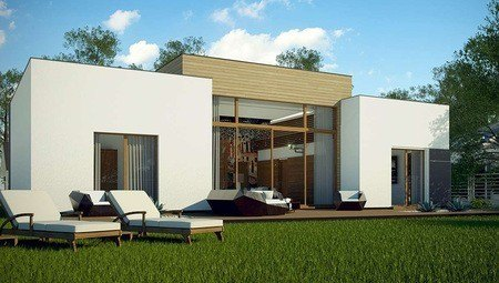 Одноэтажный дом в современном стиле с просторной гостиной
