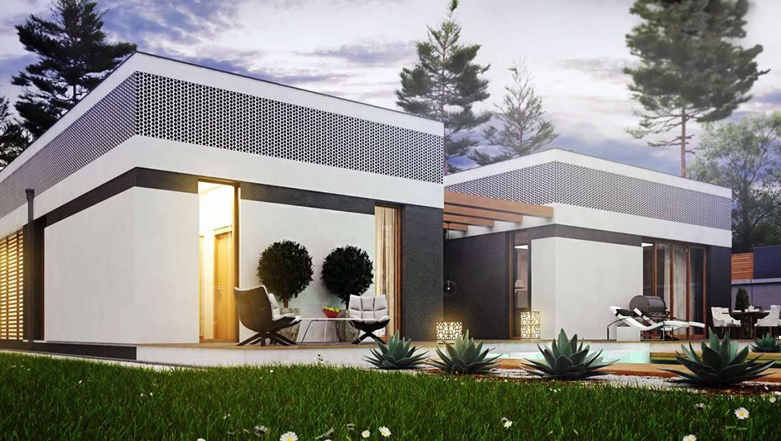 Шикарный одноэтажный дом с внутренним двориком в современном стиле