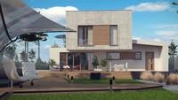 Современный двухэтажный домик в стиле хай тек