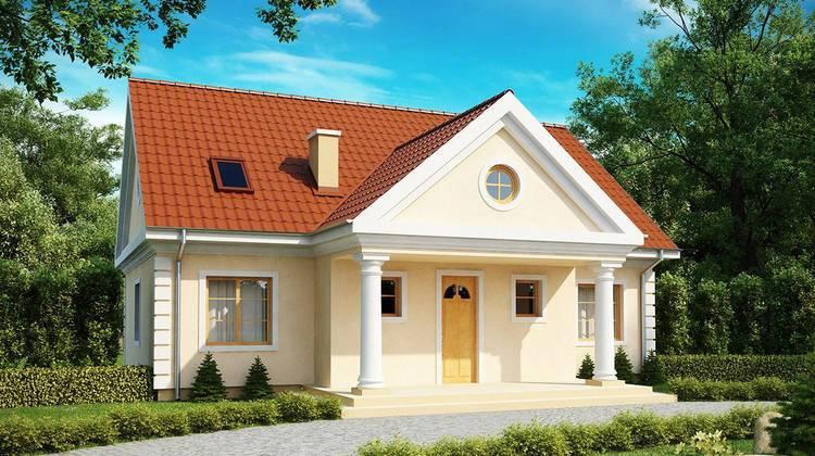 Стильный классический проект коттеджа с 3-мя спальнями в мансарде