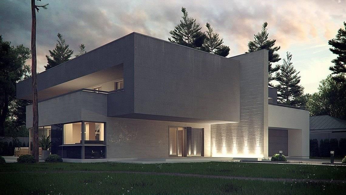 Проект ультрасовременного особняка с огромными окнами и сауной на 2-ом этаже