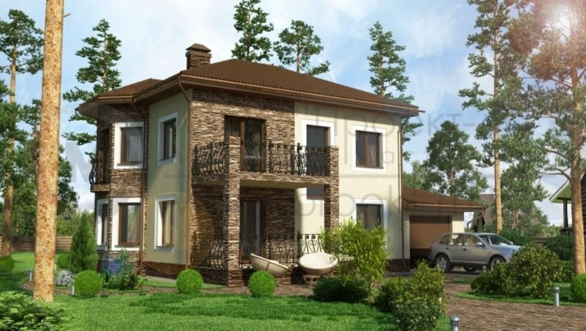 Проект двухэтажного коттеджа с комфортной террасой