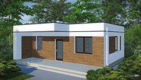 Проект оригинальной бани с плоской крышей