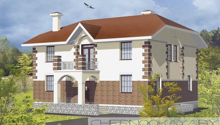 Проект красивой большой загородной усадьбы с оригинальным фасадом