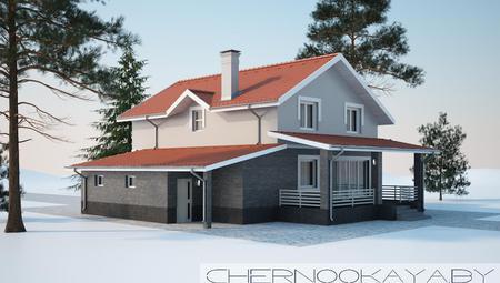 Проект двухэтажного коттеджа с оригинальной крышей и кирпичным фасадом