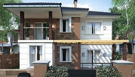 Архитектурный проект коттеджа с крытой террасой площадью 200 m²