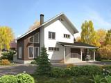 Архитектурный проект дома с террасой, навесом для авто