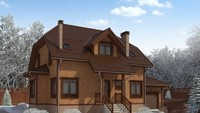 Проект для строительства мансардного коттеджа с деревянной отделкой фасада