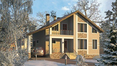 Архитектурный проект дома с зимним садом и гаражом