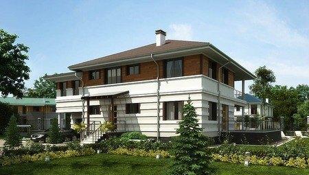 Проект удобного жилого загородного роскошного коттеджа с террасой