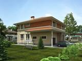 Проект удобного двухэтажного коттеджа квадратной формы