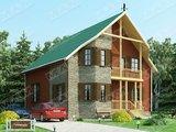 Проект удобного коттеджа 150 m². с красивым необычным фасадом и крышей