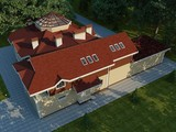 Проект огромной шикарной загородной усадьбы с цокольным этажом