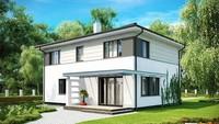 Проект двухэтажного коттеджа с удобной террасой над гаражом