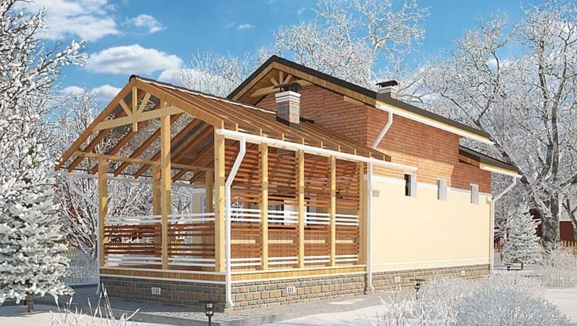 Проект баньки с уютной антресолью и крытой террасой