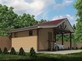 Проект хозяйственного помещения с навесом для 2х авто