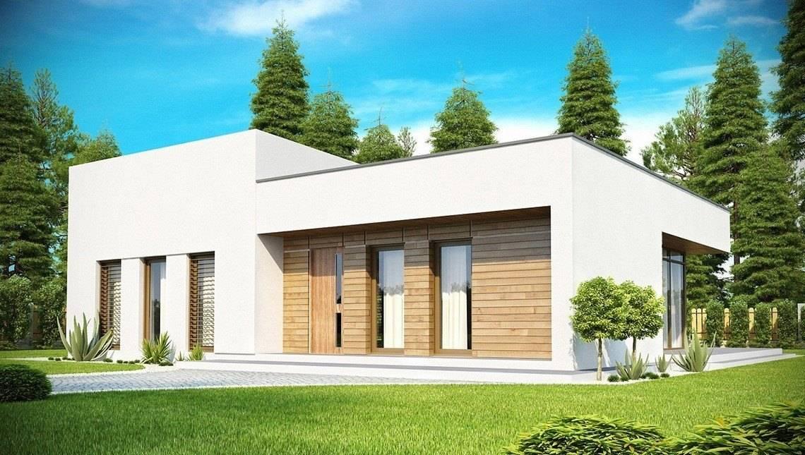 Проект современного одноэтажного дома с застекленной гостиной