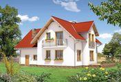 Проект для строительства дома Т-образной формы с мансардой